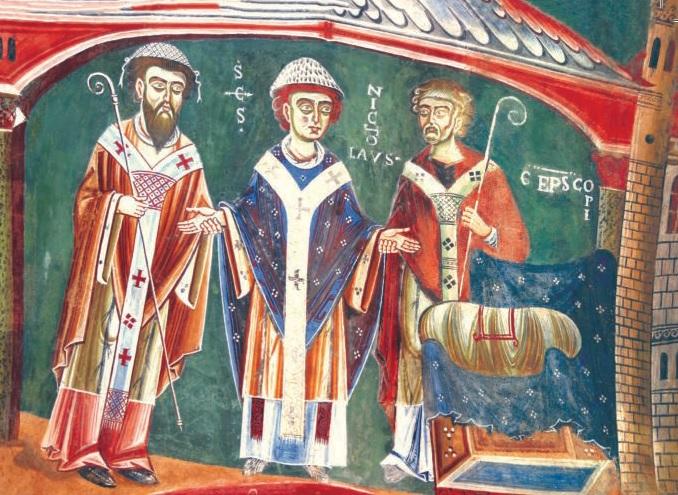 Cappella di Sant'Eldrado, particolare degli affreschi di San Nicola.