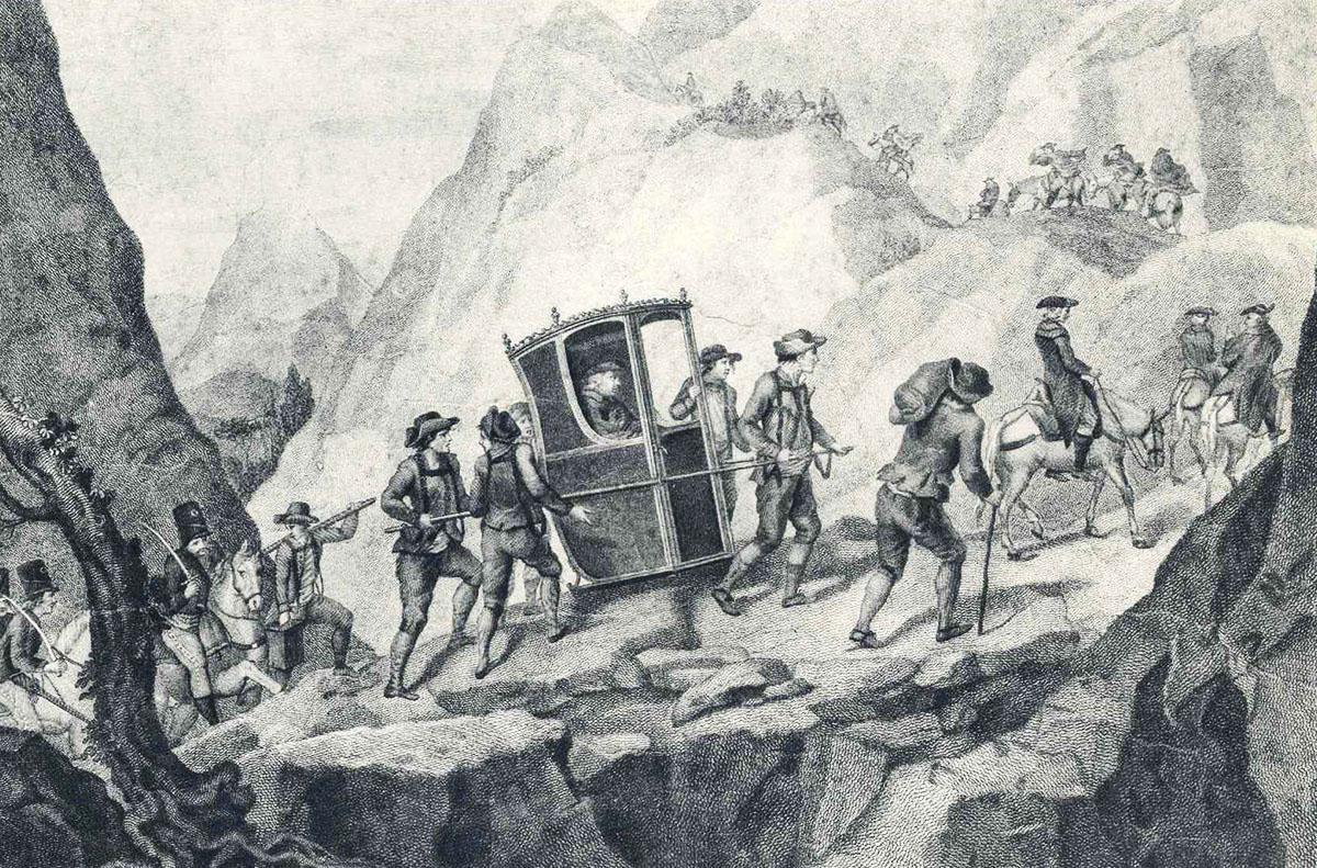 ritratto diviaggiatori accomoagnati dai marrons per il valico del moncenisio