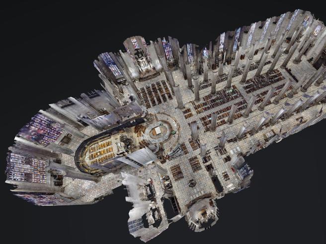 prospetto 3D dell'interno del Duomo di Milano visto dall'alto