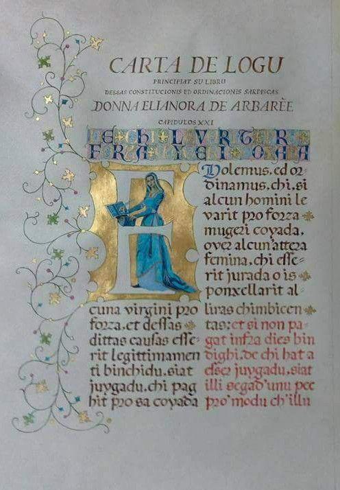 pagina manoscritta della Carta de Logu - XV secolo