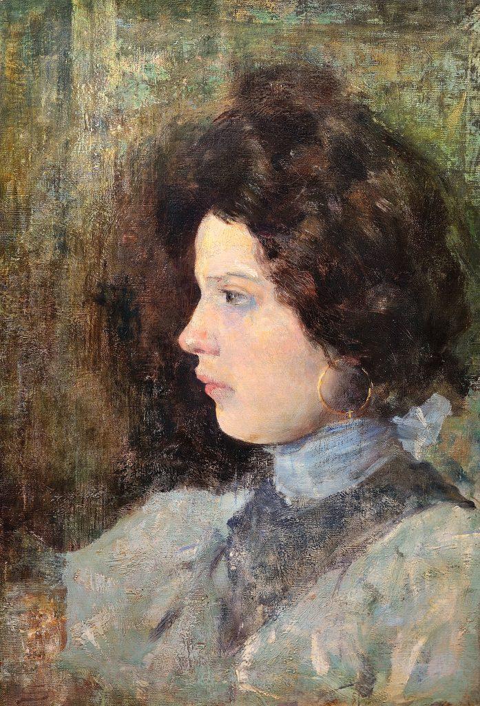 Ritratto di giovane signora di profilo, Giovanni Segantini (1880)