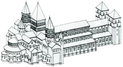 disegno architettonico dell'esterno dell'Abbazia di Cluny