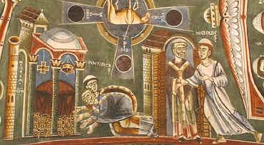 affreschi della Cappella di Sant'Eldrado a Novalesa. Particolare della vita di San Nicola