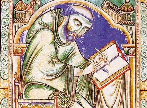 miniatura raffigurante un monaco amanuense intento a scrivere su un manoscritto